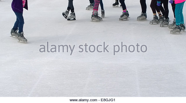 Low section of skaters on ice - Stock-Bilder