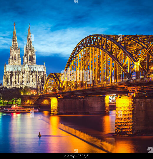 Cologne, Germany over the Rhine River. - Stock-Bilder