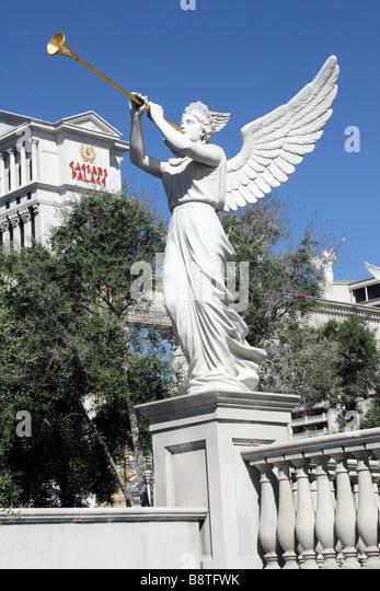 Winged statue near Caesar's Palace, Las Vegas - Stock Image