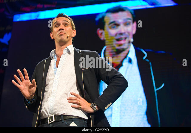 Peter Frankopan author and historian speaking on stage at Hay Festival 2016 - Stock Image