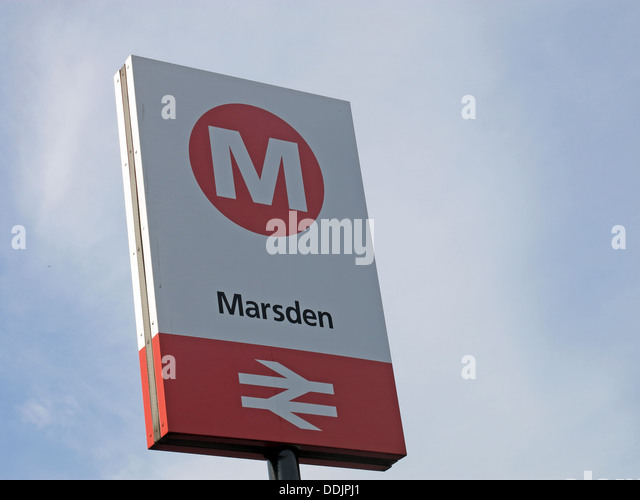 Marsden railway station sign on the Northern train line from Stalybridge to Huddersfield stop for the Riverhead - Stock Image