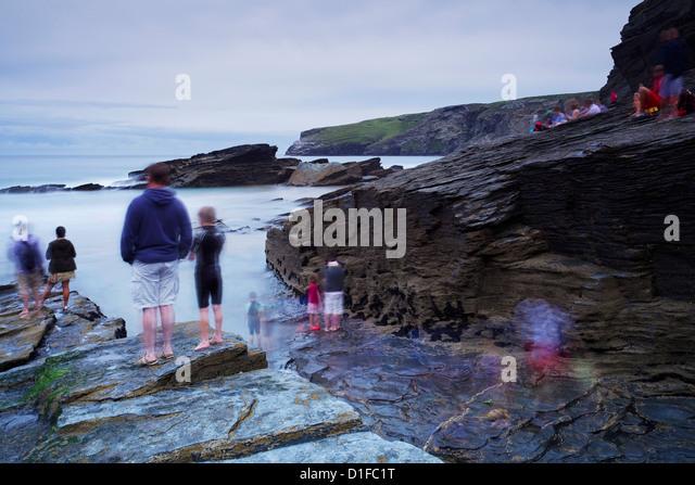 Trebarwith Strand, Cornwall, England, United Kingdom, Europe - Stock Image