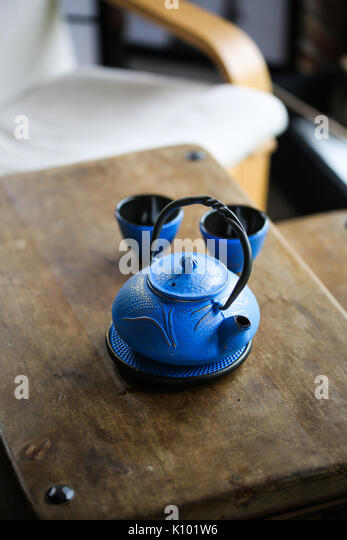 A blue Japanese Cast Iron Kettle, tetsubin - Stock Image