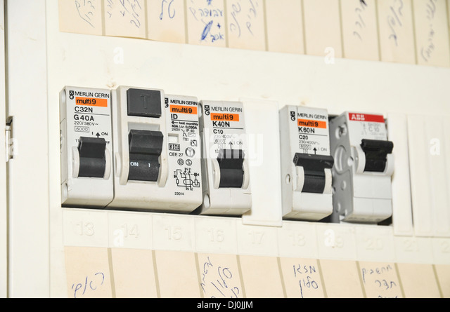 Domestic fuse box close up - Stock Image