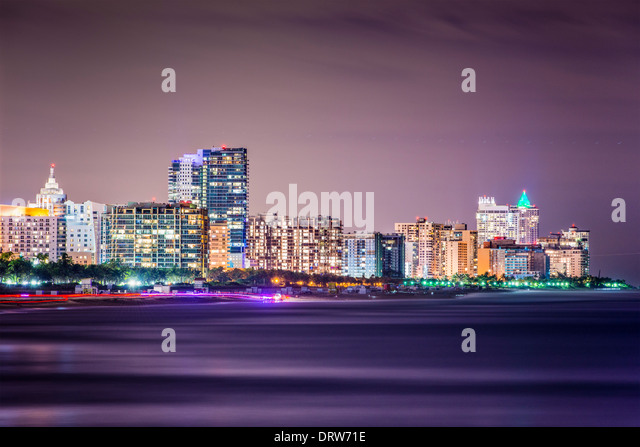 Miami Beach, Florida skyline at night. - Stock Image