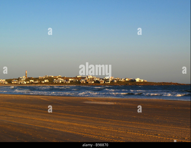 The headland, the small village and the beach at Cabo Polonio, Uruguay. - Stock Image
