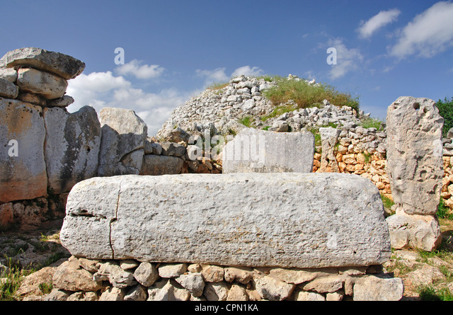 The Taula, Torre d'en Galmés prehistoric site, Menorca, Balearic Islands, Spain - Stock Image