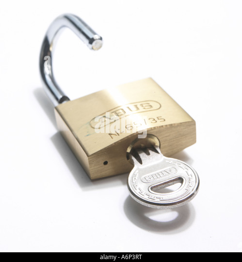 padlock unlocked by key - Stock Image