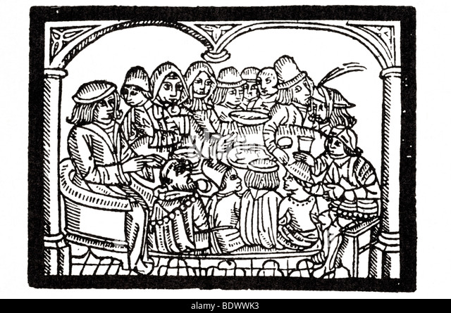 r pynson 1526 4 june chaucer geoffry canterbury tales fourteen pilgrims seated about a round table the host in a - Stock Image