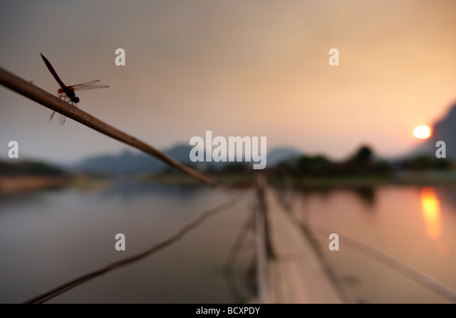 a dragonfly on the bridge over the Nam Song River at Vang Vieng at sunset, Laos - Stock Image