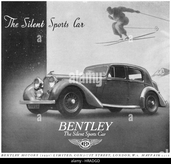 1946 British advertisement for Bentley Sports Cars. - Stock Image