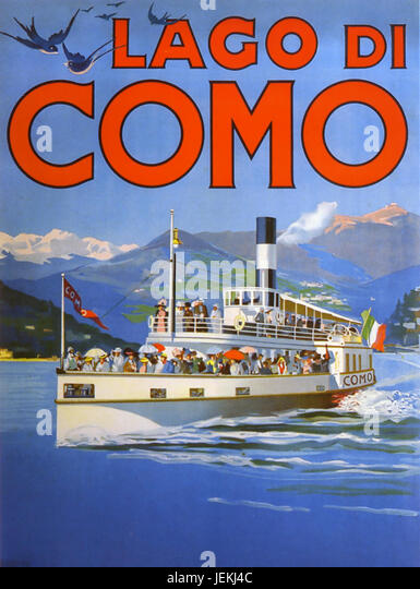 LAKE COMO, Italy. Promotional poster about  1910 showing one of the then newly introduced  steam ferry boats - Stock-Bilder