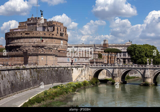 The Mausoleum of Hadrian, usually known as Castel Sant Angelo near the River Tiber in the city of Rome, Italy. Built - Stock Image