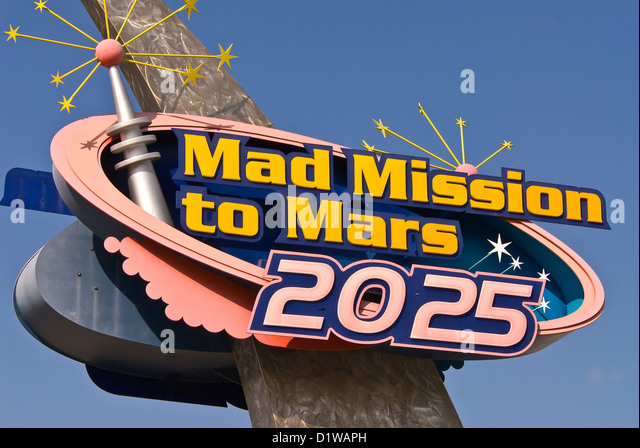 Mad Mission to Mars 2025 attraction sign Kennedy Space Center Visitor Center, Florida - Stock Image