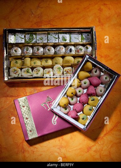 Boxes of sweets - Stock Image