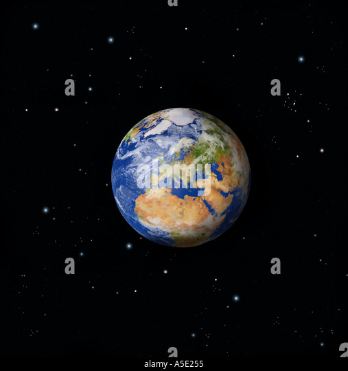 Full Earth from Space Europe prominent - Stock Image