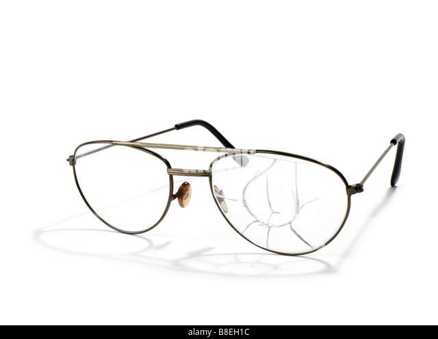 Broken wireframe  eyeglasses - Stock Image
