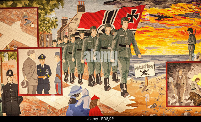 Part of the Occupation Tapestry, Grouville Occupation, St Helier, Jersey, Channel Islands, UK - Stock Image