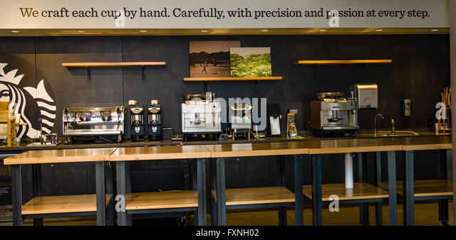 Espresso equipment on display at Starbucks corporate headquarters Seattle Washington - Stock Image