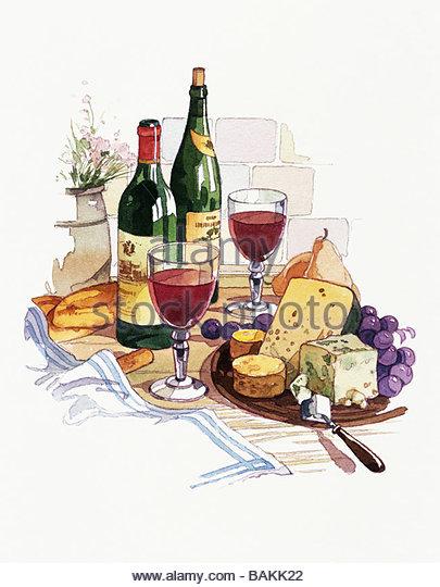 Wine and Cheese - Stock-Bilder