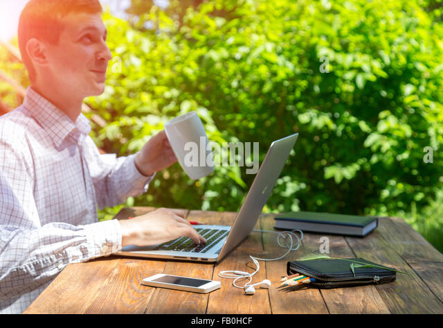 Working man inspired by nature - Stock Image