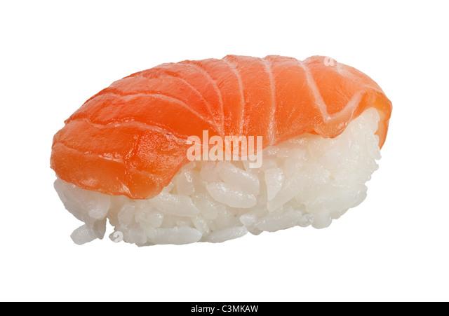 Japanese food - Salmon nigiri isolated on white background - Stock Image