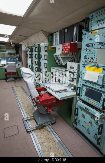 Missile launch station in cold war era underground bunker, Minuteman Missile National Historic Site, South Dakota - Stock Image