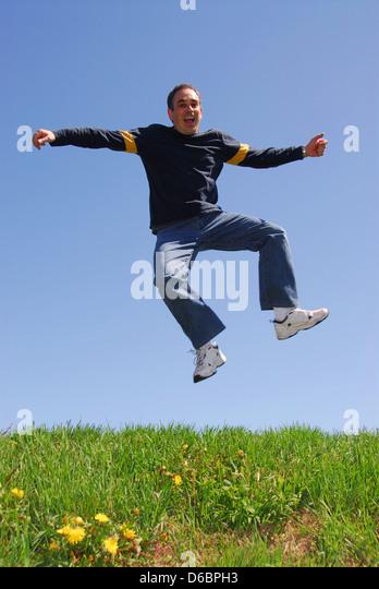jump,joy,vitality,ecstatic,jumping - Stock Image