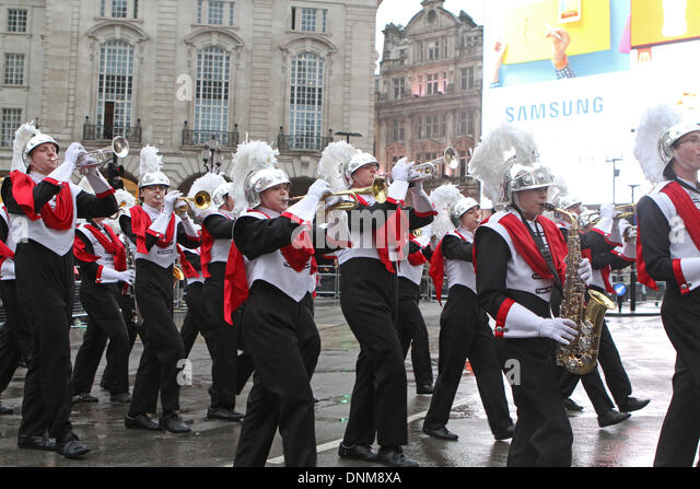 London,UK,1st January 2014,Troy High School marching band at the London's New Year's Day Parade 2014 Credit: - Stock Image