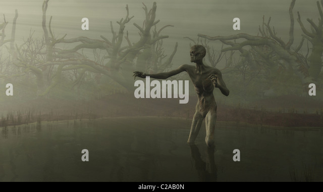 Zombie in the Swamp - Stock Image