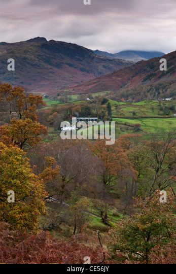 Cottages in Little Langdale valley, Lake District, Cumbria, England. Autumn (November) 2011. - Stock Image