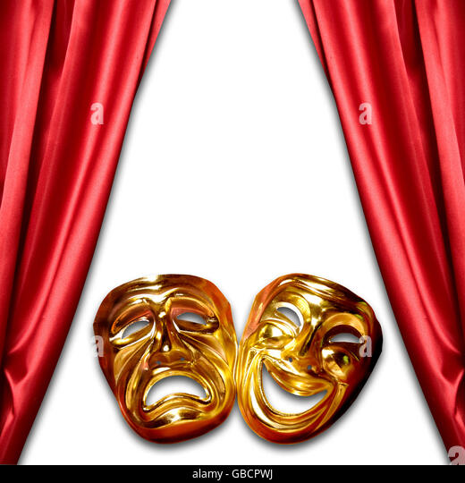 tragedy and comedy masks with curtains - Stock Image
