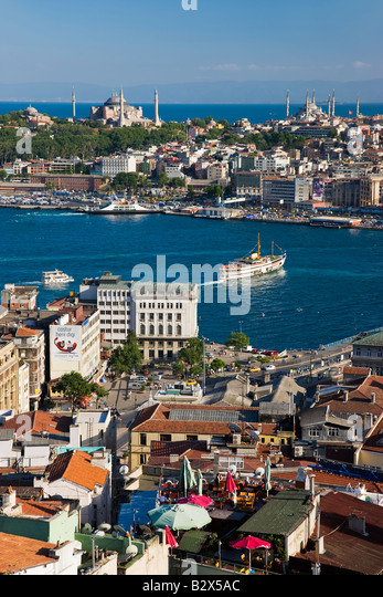 Elevated view over the Bosphorus and Sultanahmet from the Galata Tower in Istanbul, Turkey - Stock Image