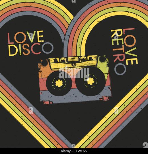 Love Disco, Love Retro. Vintage poster design template - Stock Image