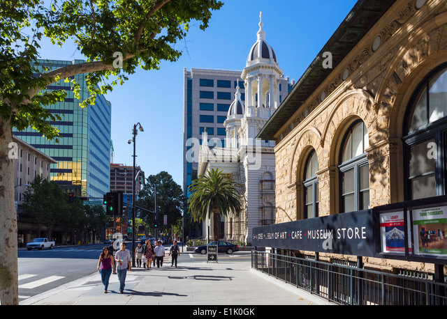 The Cathedral and Museum of Art on Market Street in downtown San Jose, Santa Clara County, California, USA - Stock Image