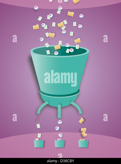 Illustrative image of machine arranging CD, folders and papers in buckets - Stock Image