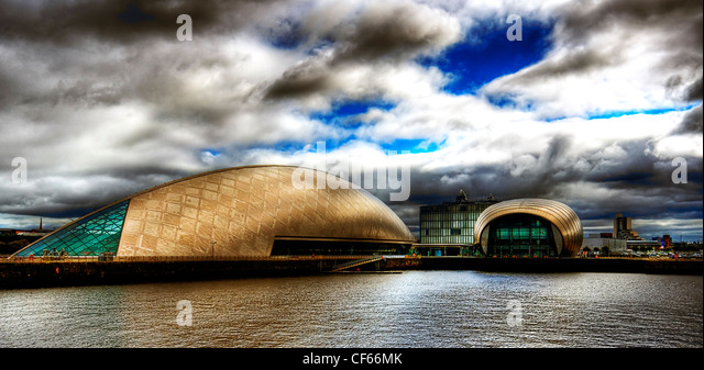 The IMAX cinema and Glasgow Science Centre at Pacific Quay in Glasgow. - Stock Image