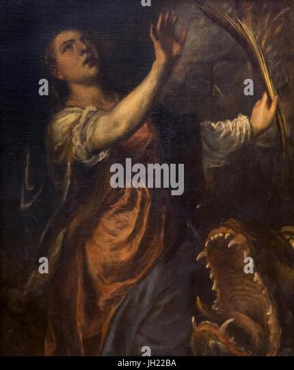St Margaret, by Titian, 1565-1570, Uffizi Gallery, Florence, Tuscany, Italy, Europe - Stock Image