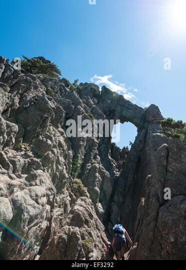 Bomb crater, bomb hole, U Tafonu di u Compuleddu, Trou de la Bombe, Col de Bavella, Bavella Massif, Corsica, France - Stock Image