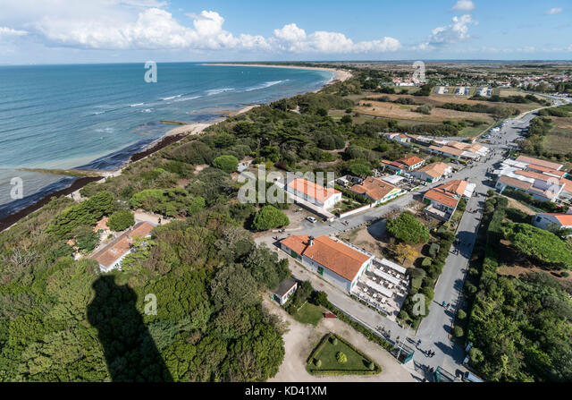Pnoramic view from Phare des Baleines, lighthouse, Ile de Re, Nouvelle-Aquitaine, french westcoast, france, - Stock Image