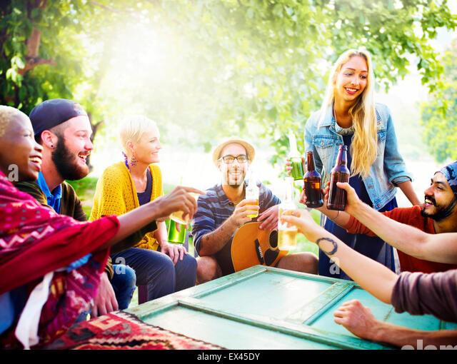 Friend Celebrate Party Picnic Joyful Lifestyle Drinking Concept - Stock Image