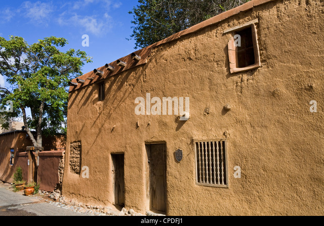 Oldest house in the USA on the Old Santa Fe Trail, Santa Fe, New Mexico, United States of America, North America - Stock-Bilder