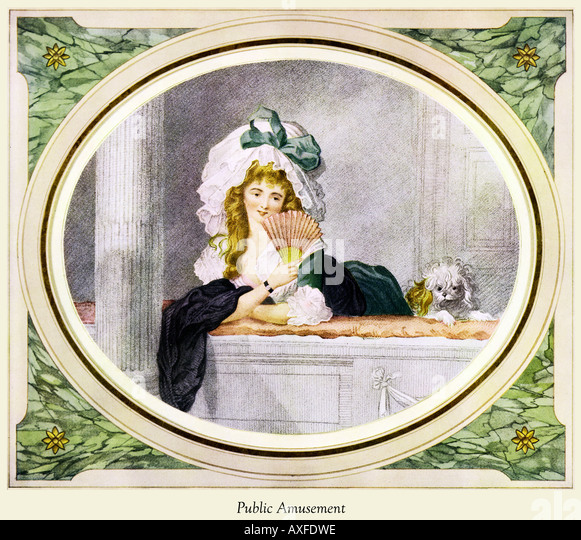 Public Amusement Georgian print of a lady out on the town by William Ward and engraved by John Henry Ramberg - Stock Image