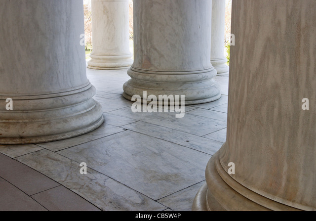 A low-angle view of the columns of the Jefferson Memorial, Washington, DC. - Stock Image