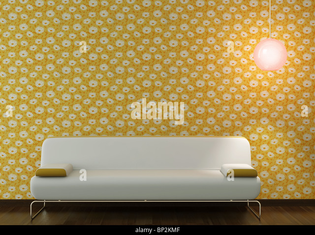 interior design of white couch and lamp on flowery yellow wallpaper background - Stock Image