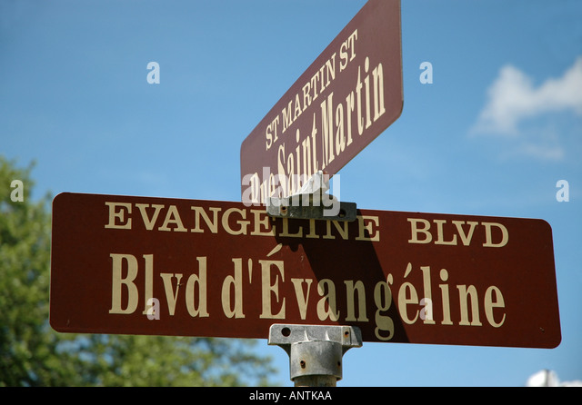 LOUISIANA Evangeline Blvd sign st martinsville Henry Wadsworth Longfellow poem - Stock Image