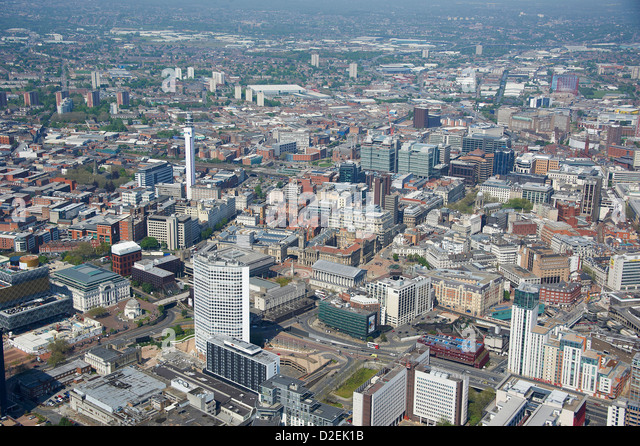 Birmingham city centre from the air, West Midlands, UK - Stock Image