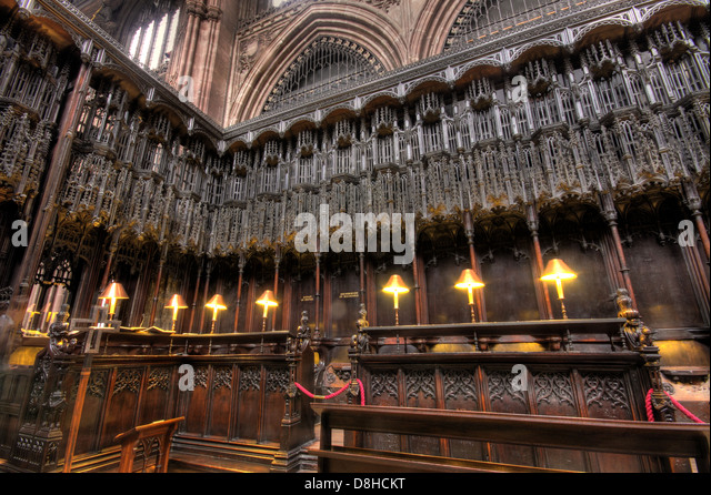 Detail of Manchester cathedral interior NW England UK - Stock Image