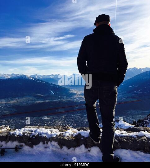 Looking over Innsbruck in the Austrian Alps - Stock Image