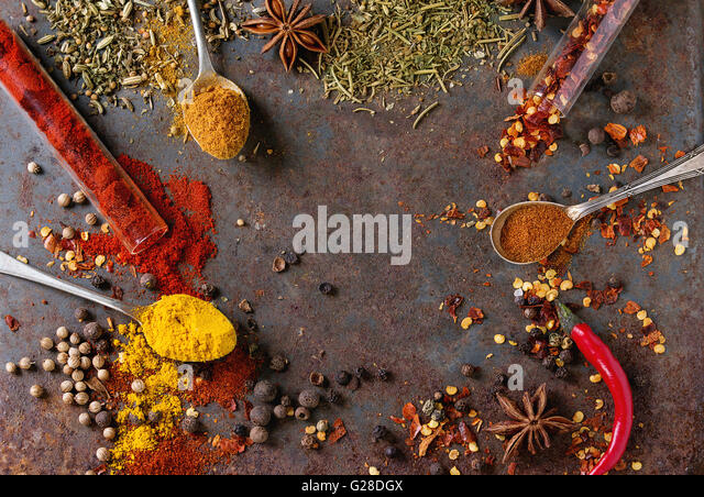 Spicy background with chili peppers - Stock Image